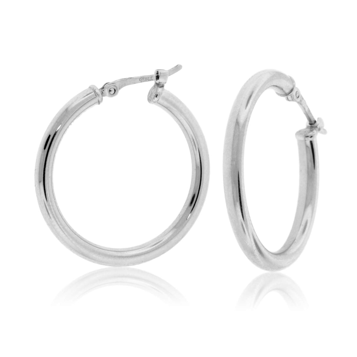 Sterling Silver Polished Tube Hoop Earrings