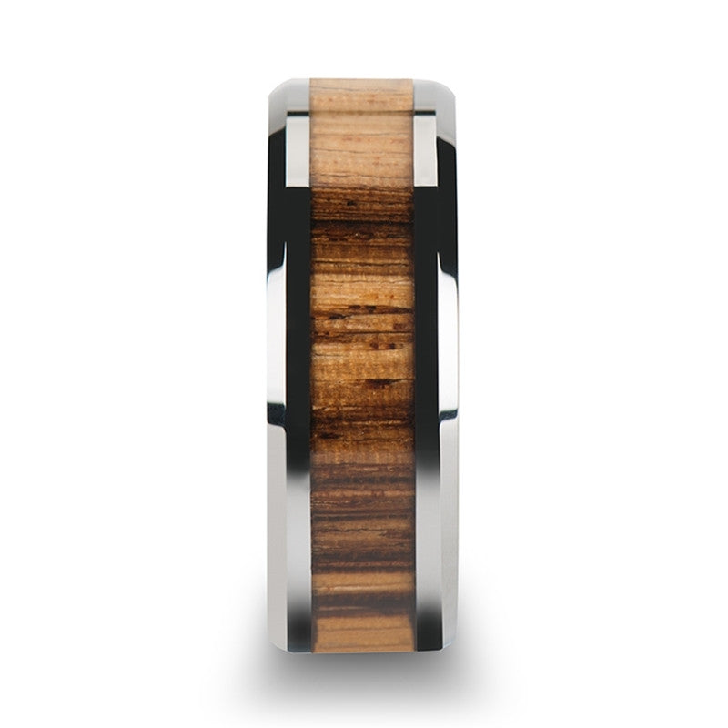 Tungsten Carbide Ring with Zebra Wood Inlay Mens Band