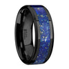 Polished Black Ceramic Band with Blue Lapis Inlay & Beveled Edges