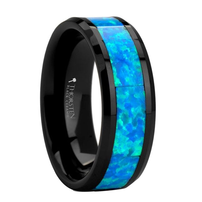 Black Ceramic Ring with Blue Green Opal Inlay