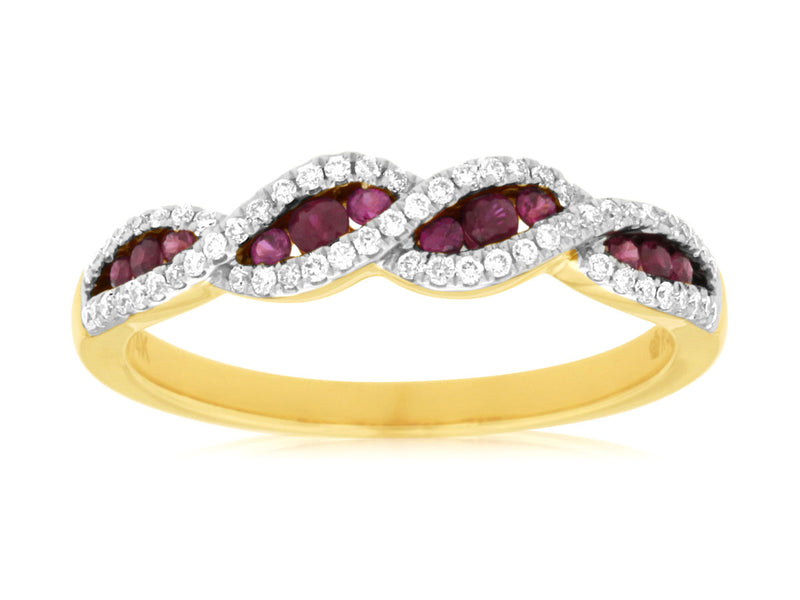 Intertwined Round Ruby and Diamond Ring