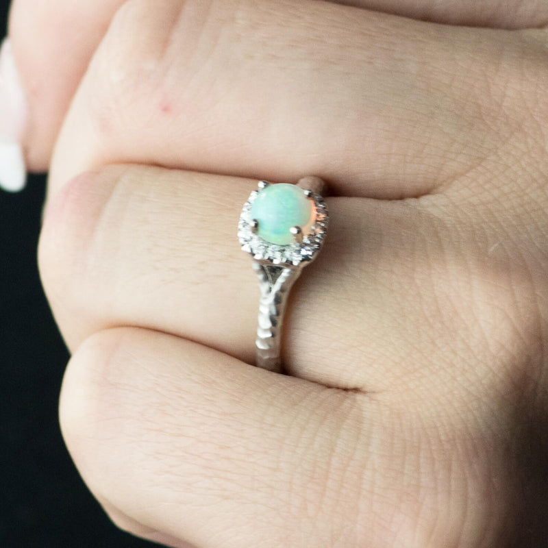 Ethiopian Opal and Diamond Halo Ring