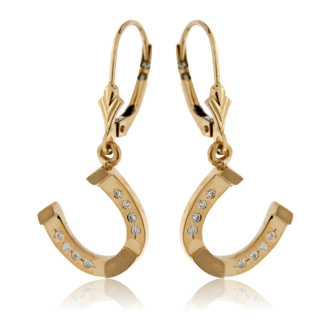 Yellow Gold and Diamond Dangle Horse Shoe Earrings