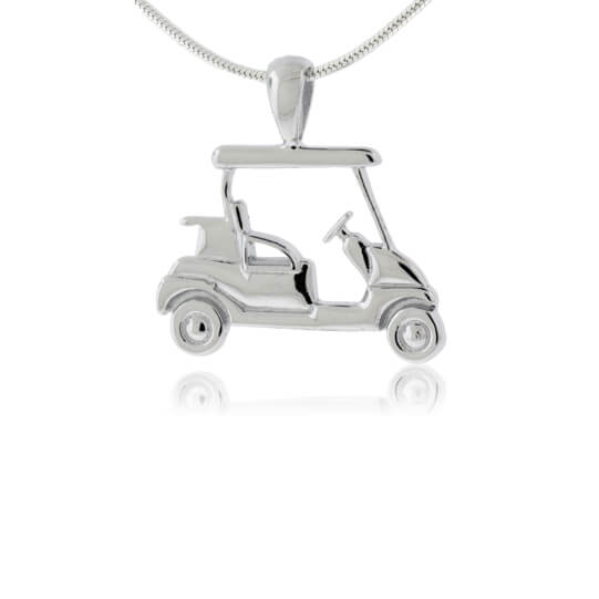 Small Sterling Silver Golf Cart Necklace