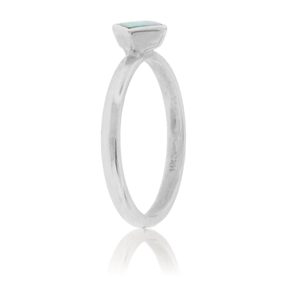 Square On Point Opal Inlay Ring