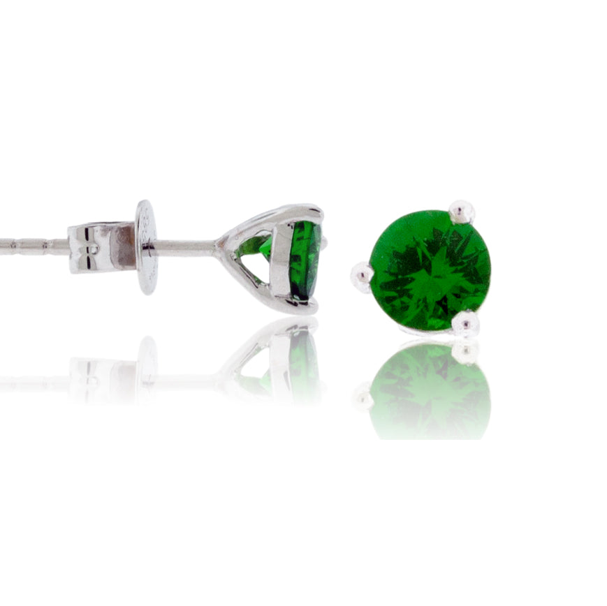 Green Tsavorite Garnet Round Stud Earrings