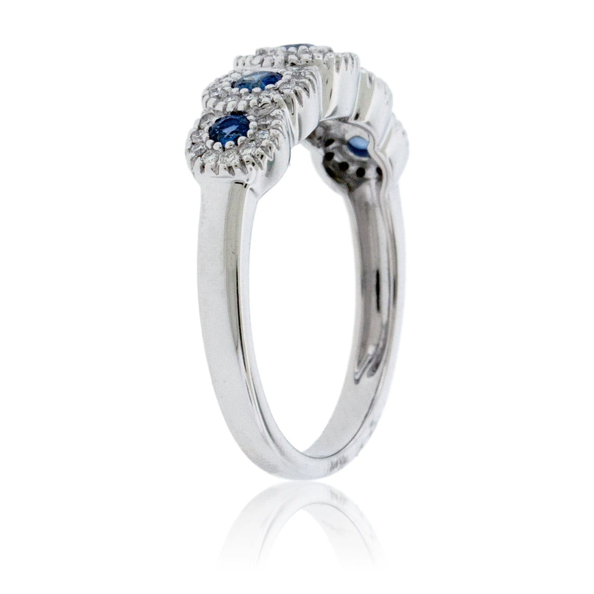 5 Round Blue Sapphire with Diamond Accent Ring