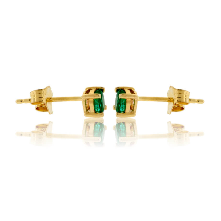Oval Shaped Emerald Yellow Gold Stud Earrings