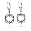 Diamond and Sapphire Infinity Heart Dangle Earrings