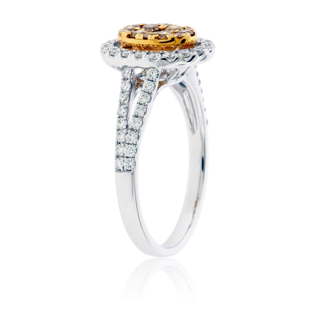 Oval Yellow Diamond & Diamond Halo Cluster Style Ring