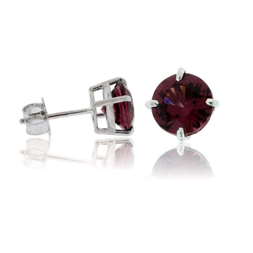 Round Rhodolite Garnet Stud Earrings
