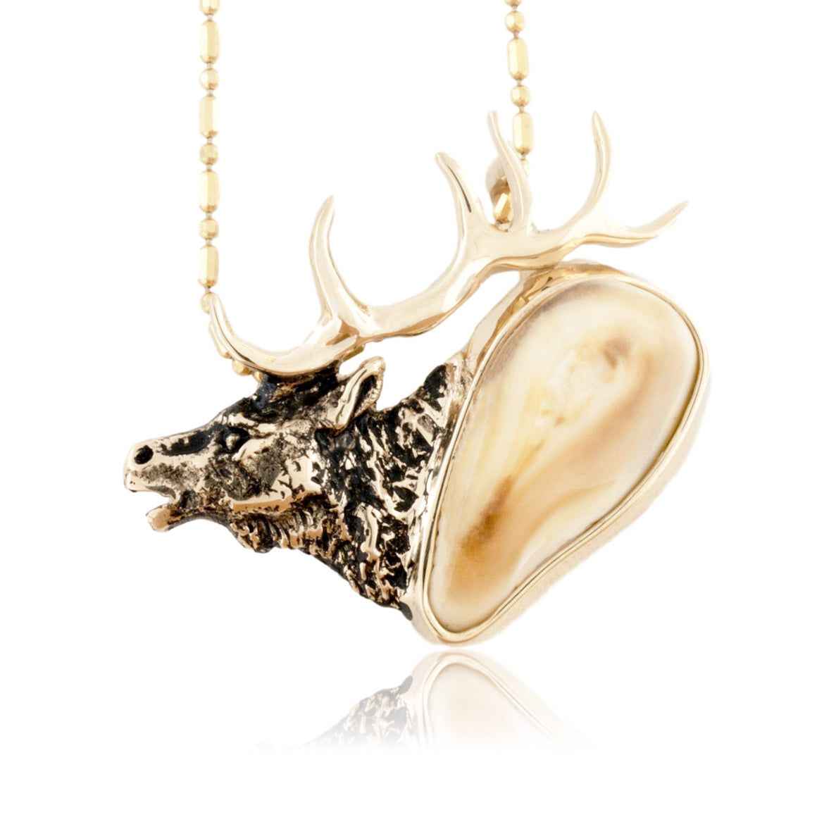 Elk Head Ivory Tooth Pendant