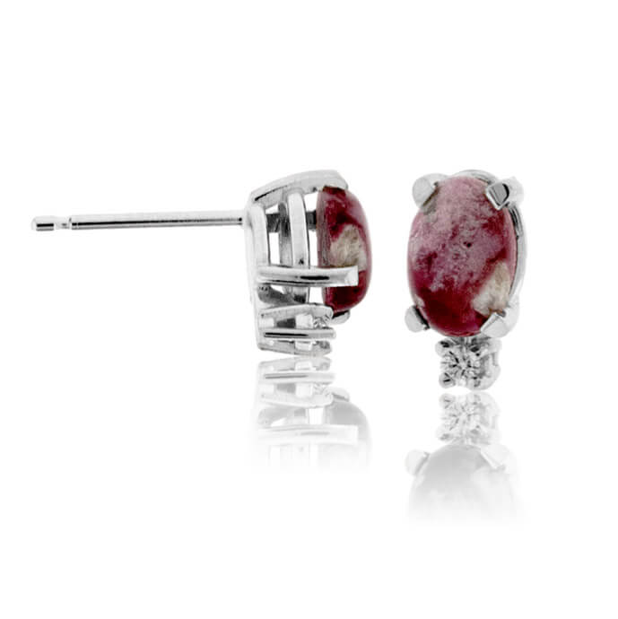 Red Emerald Cabochon & Single Diamond Slight Drop Earrings