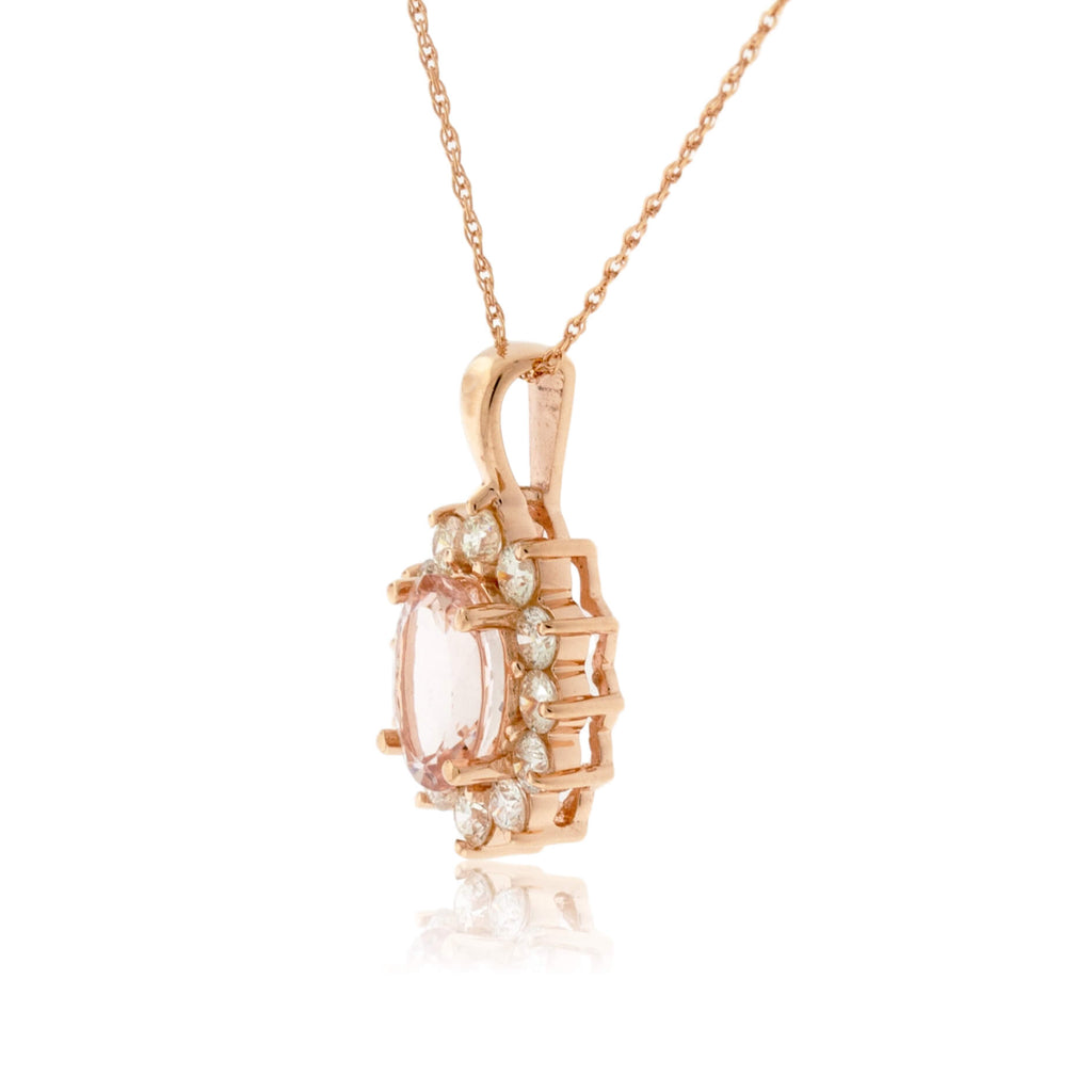 Morganite and Classic Style Diamond Halo Pendant