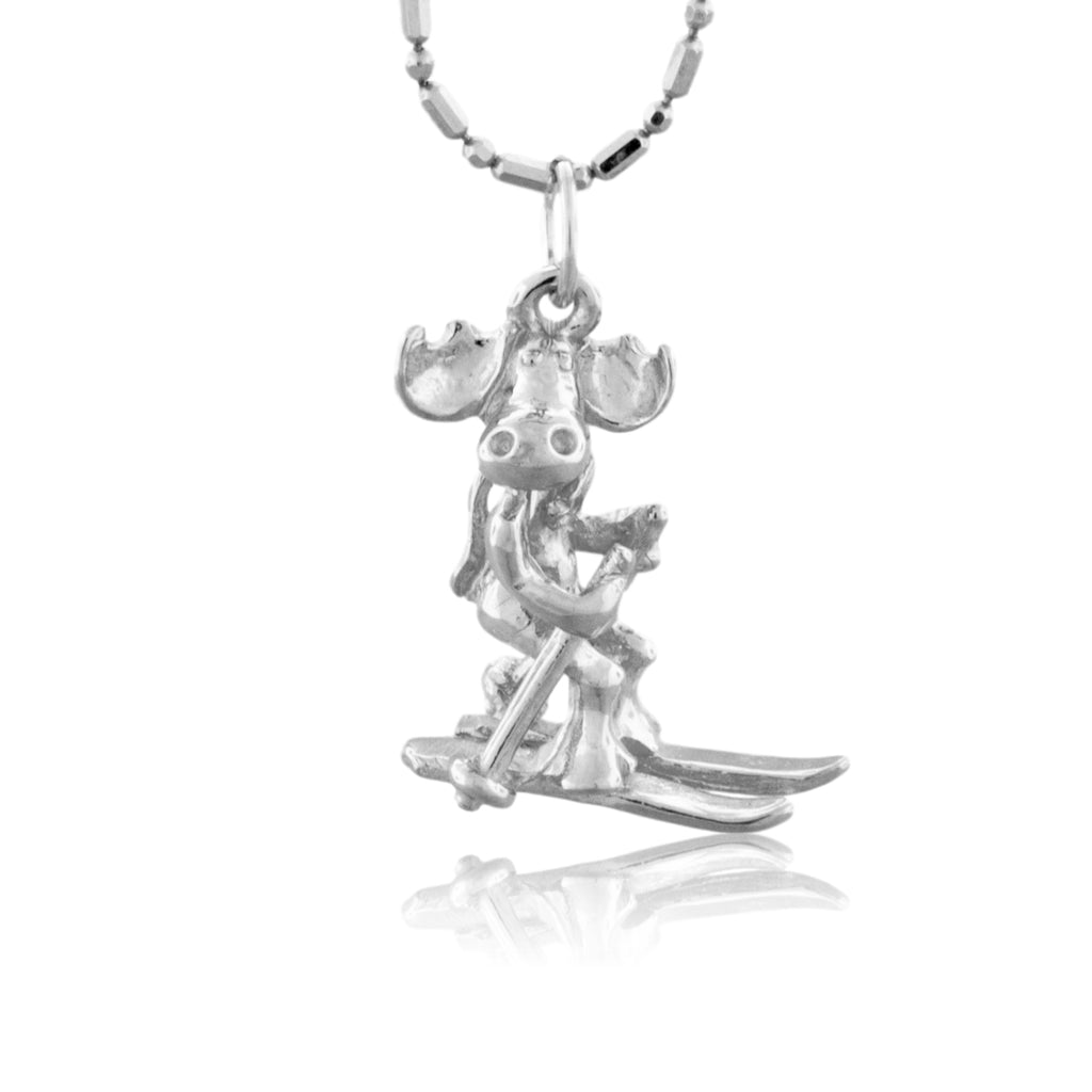 Moose Skiing Charm