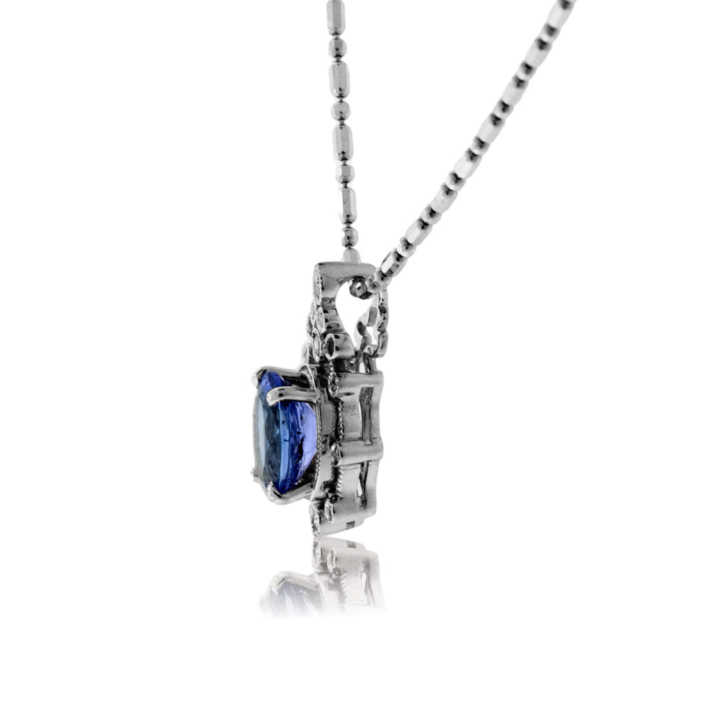 Vintage Inspired Oval Tanzanite & Diamond Pendant