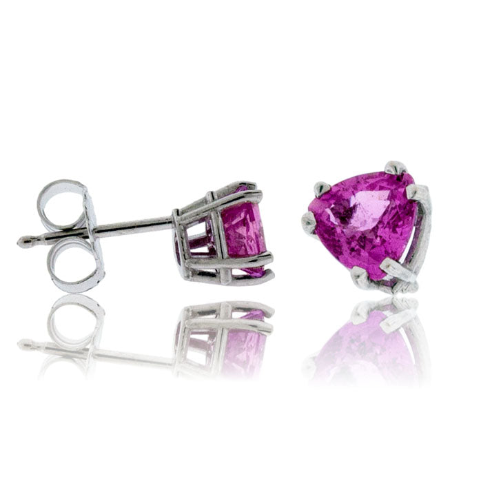 White Gold Trillian Shaped Pink Sapphire Post Earrings