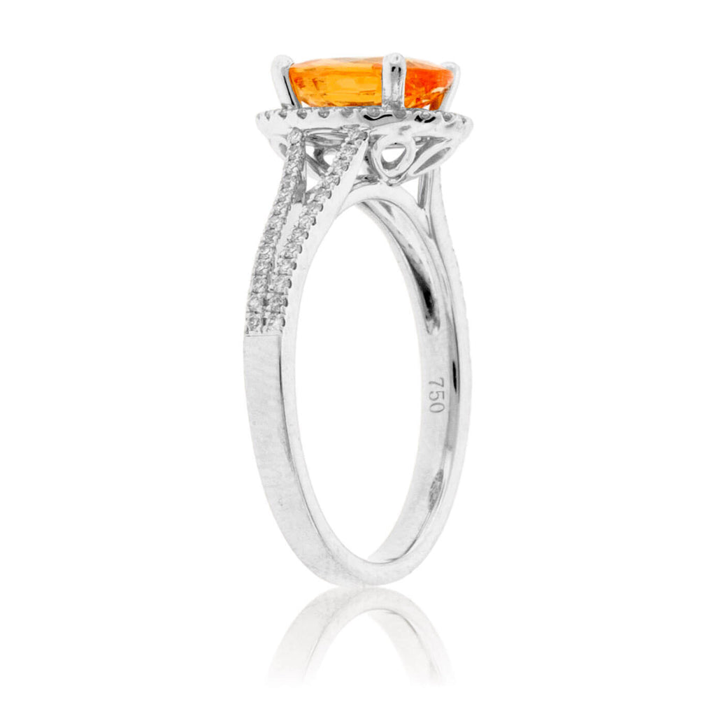 Oval Mandarin Garnet & Diamond Halo Split Shank Ring