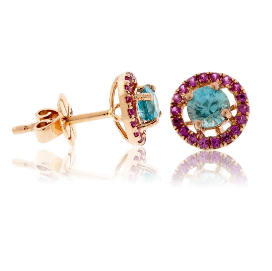 Round Blue Zircon & Pink Sapphire Halo Post Earrings