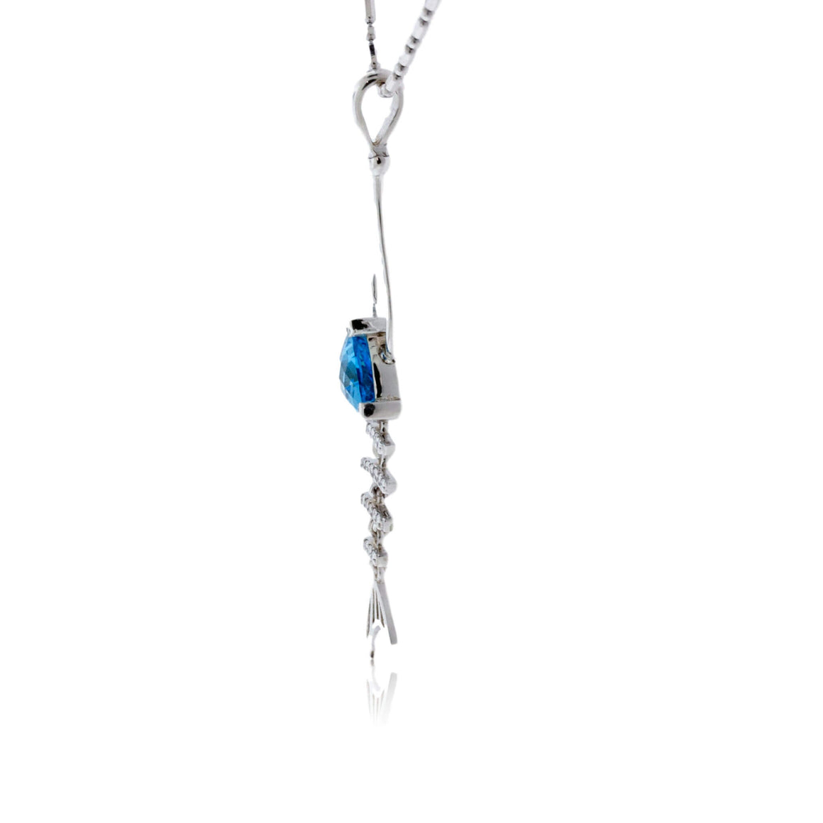 Trillian Blue Topaz & Diamond Fish Hook Pendant