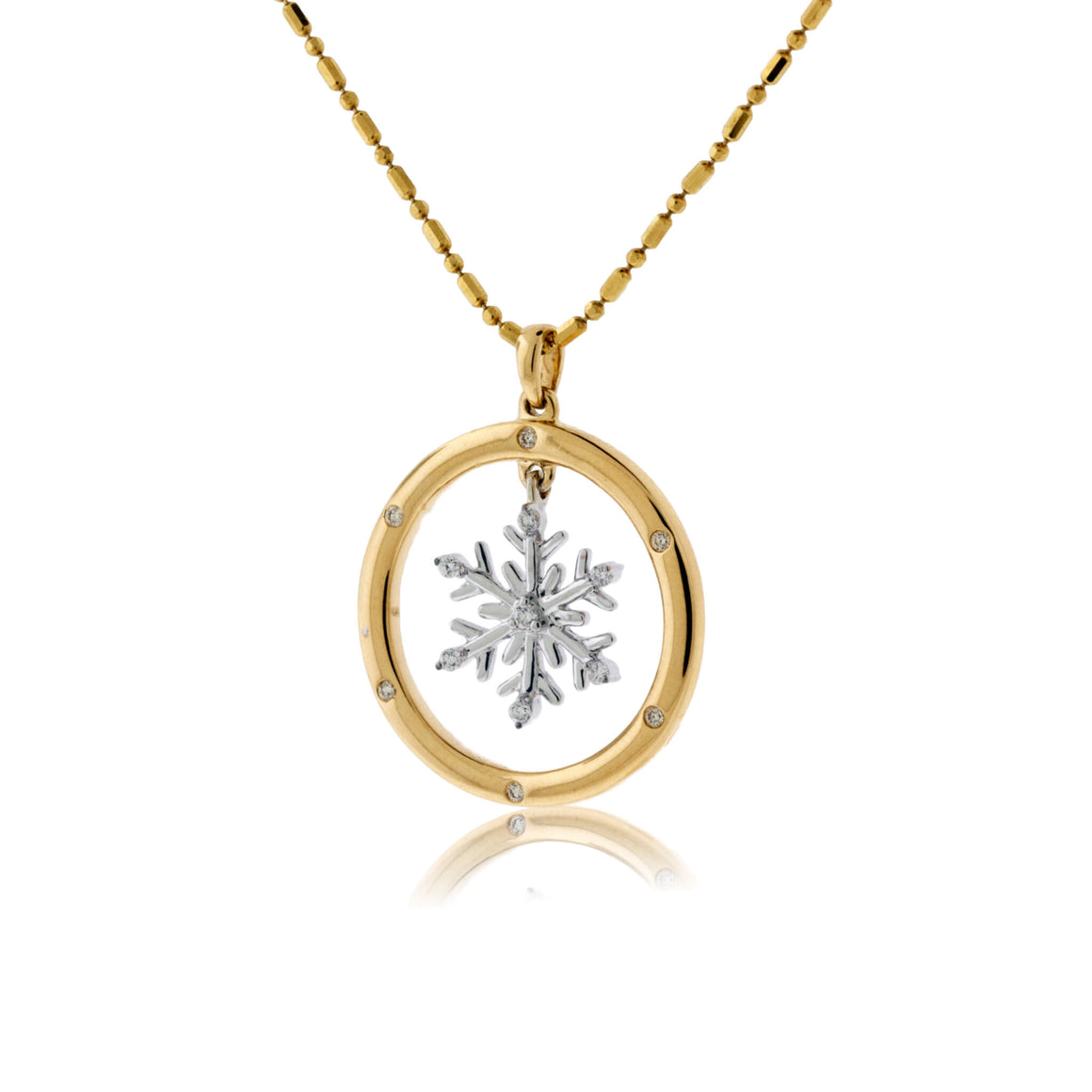 Diamond Snowflake in Circle Pendant with Chain