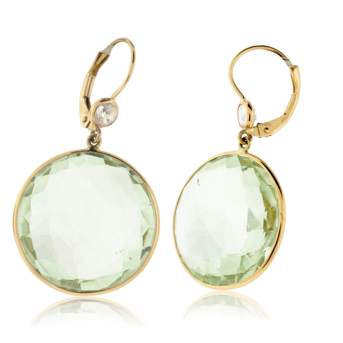 Green Amethyst and Crystal Quartz Earrings