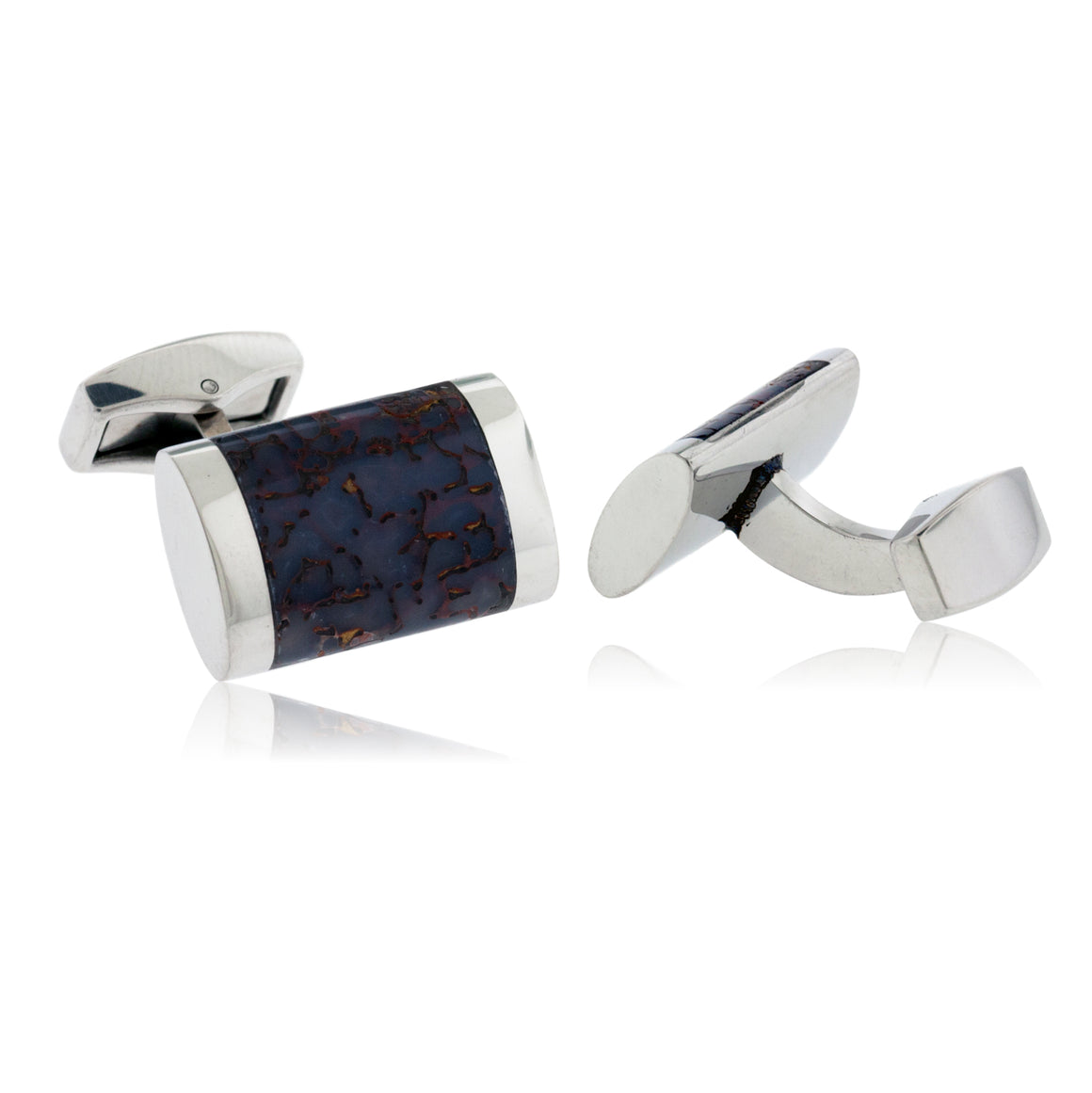 Sterling Silver Dinosaur Bone Rectangle Cuff Links