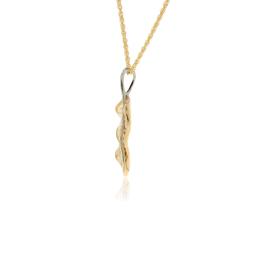 Yellow Gold Diamond Leaf Pendant with Chain
