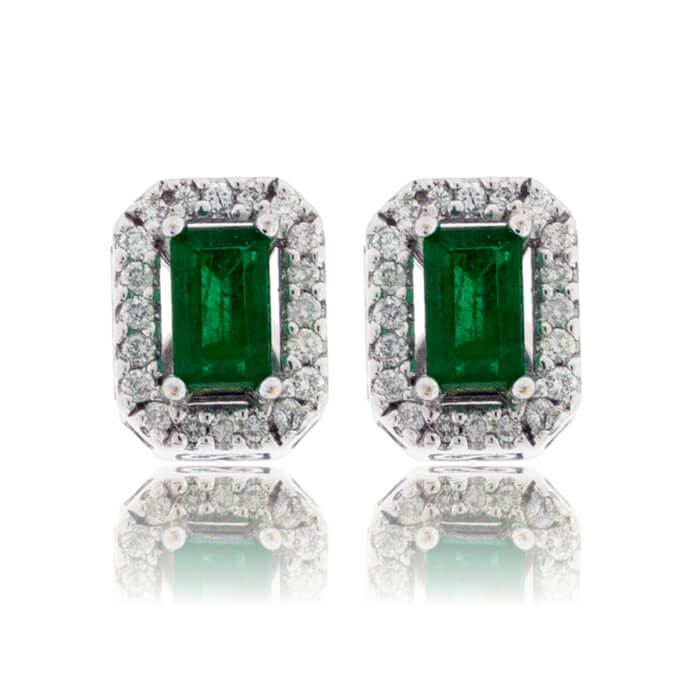 Emerald-Cut Emerald & Diamond Halo Stud Earrings