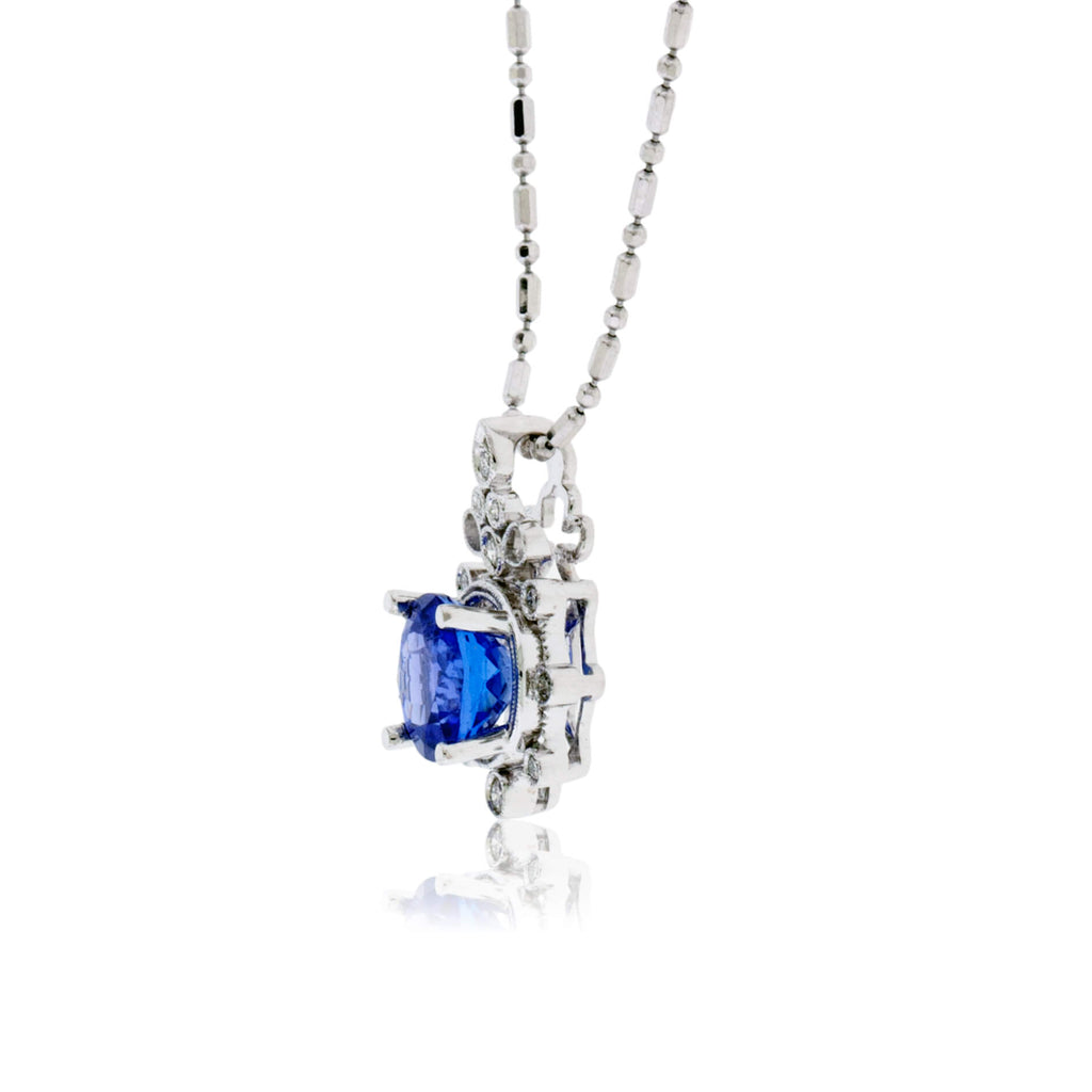 Vintage Inspired Round Tanzanite & Diamond Pendant