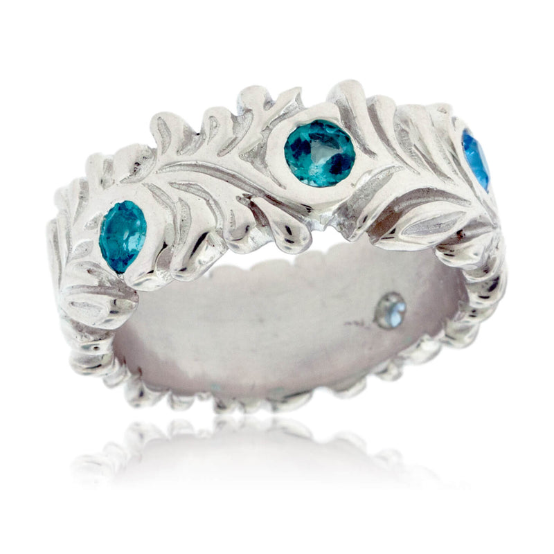 Mixed Blue Gemstone Hand Carved Nature Inspired Ring