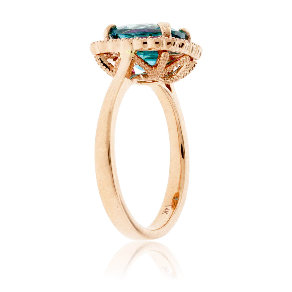 Cushion Blue Zircon & Pink Sapphire Halo Ring