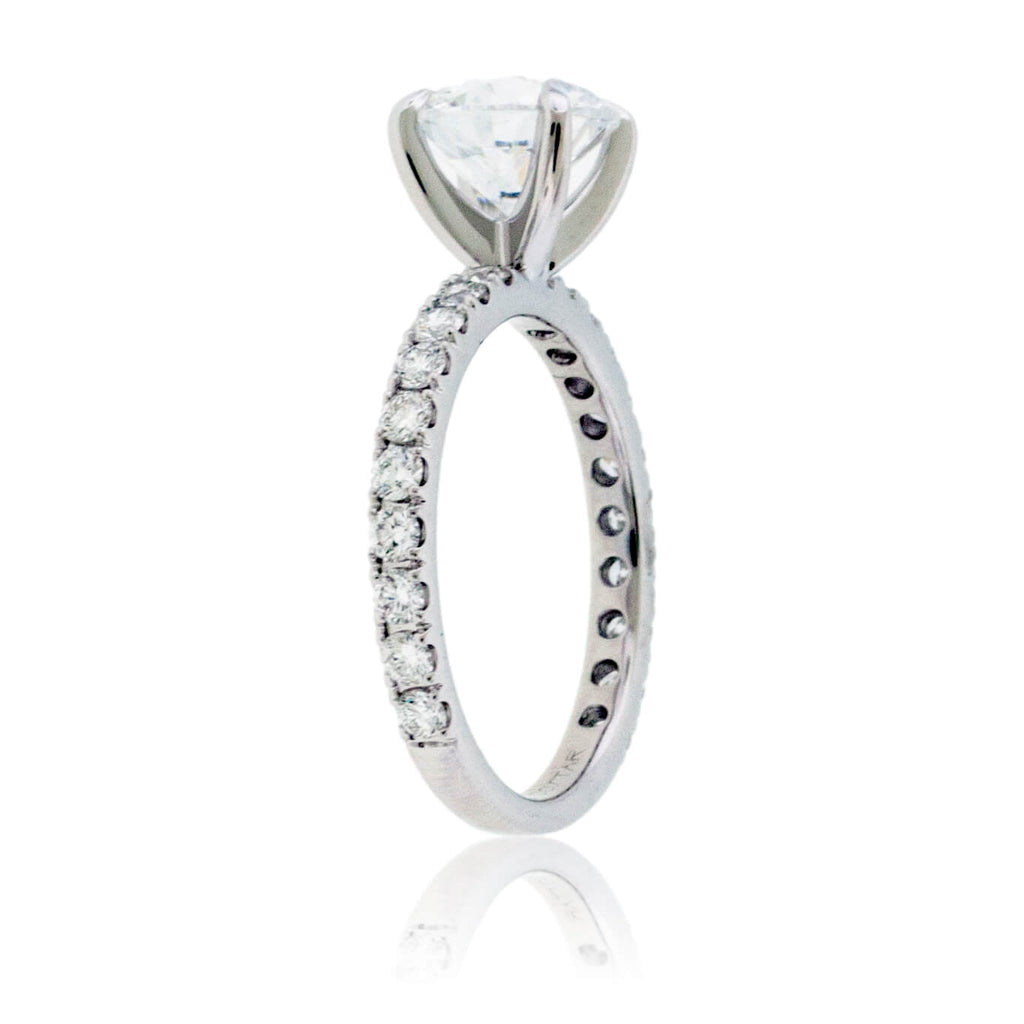 Diamond & Round CZ Center Stone Engagement Ring