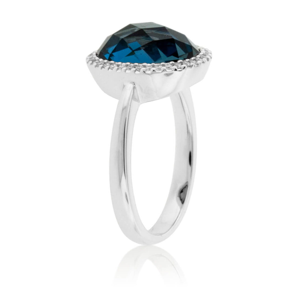 Checkerboard Cut London Blue Topaz Halo Style Ring