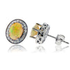 Ethiopian Opal with Diamond Halo Stud Earrings