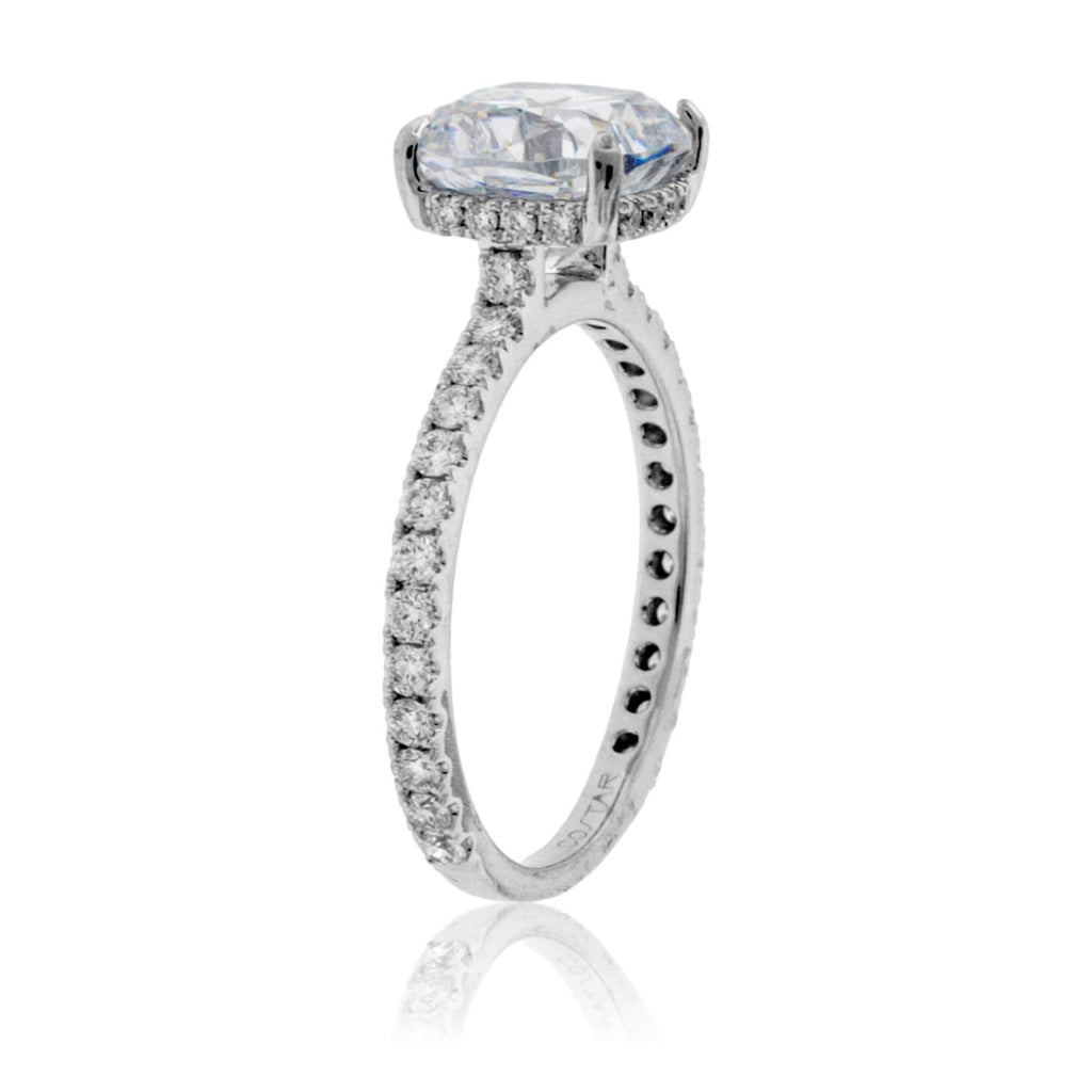 Diamond & Cushion CZ Center Stone Engagement Ring with Hidden Halo