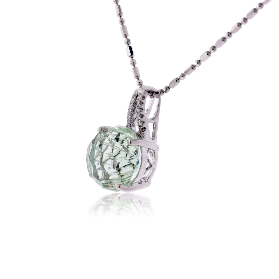 Daisy Cut Green Amethyst & Diamond Pendant