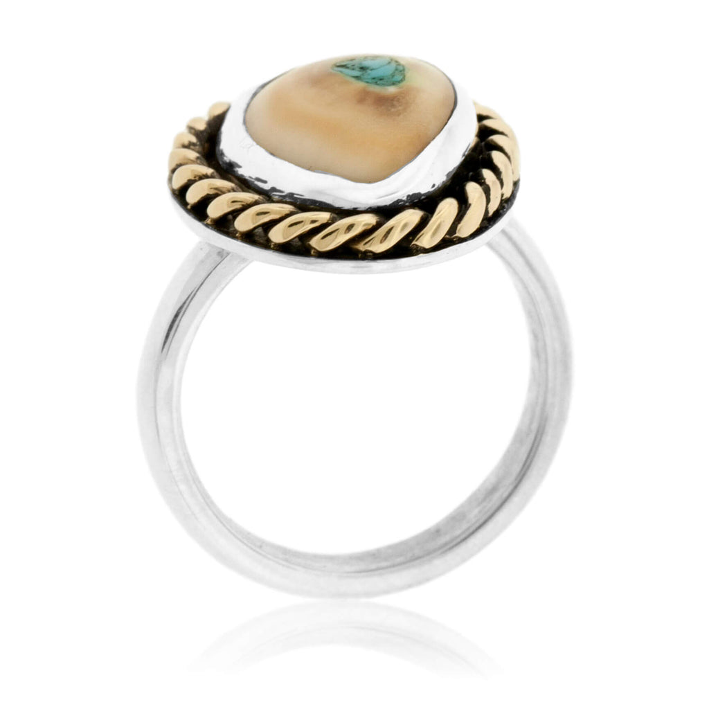 Elk Ivory Tooth Trophy Braided Ring with Turquoise Inlay