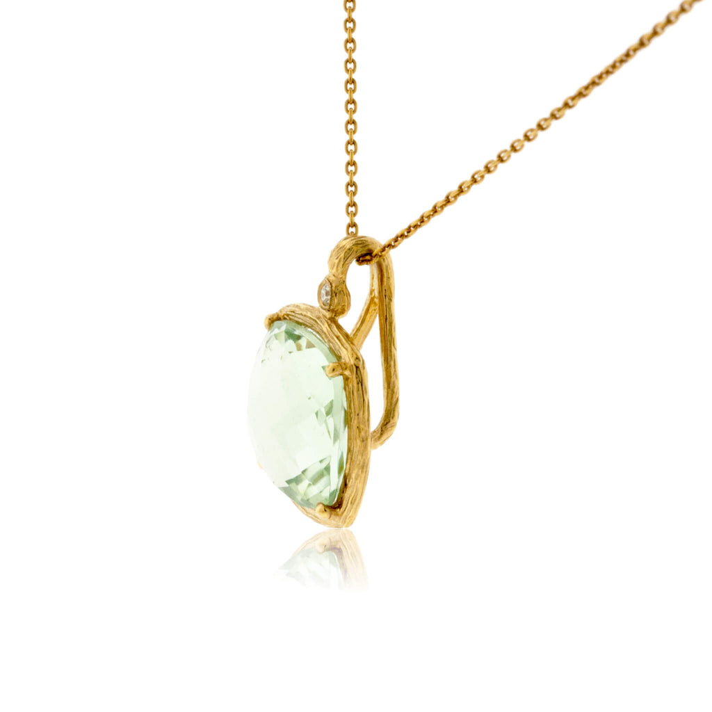 Green Amethyst and Diamond Textured Gold Necklace