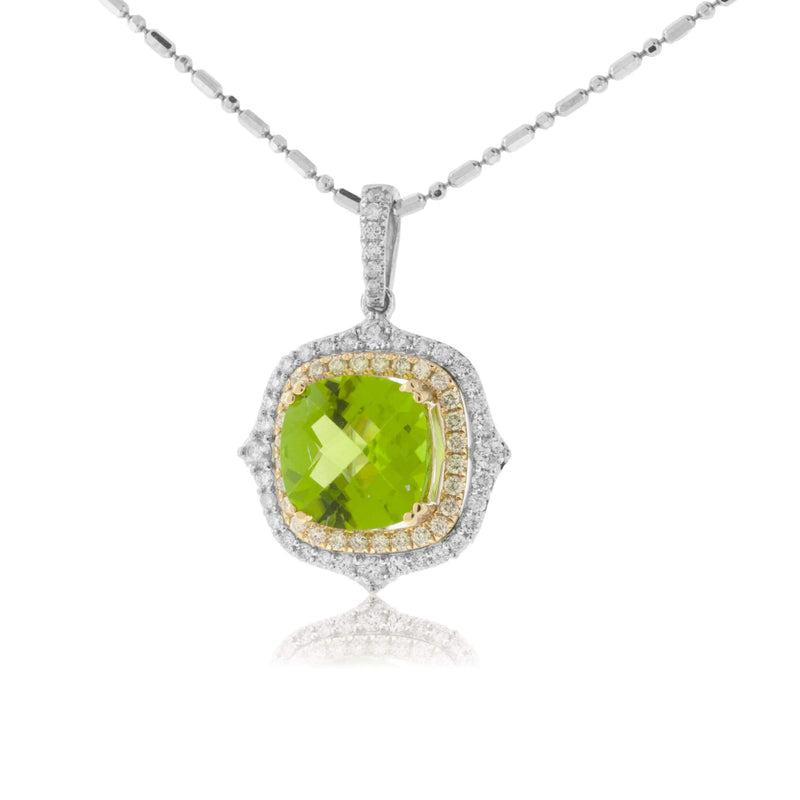 Peridot & Diamond Halo Two Tone Vintage Inspired Pendant
