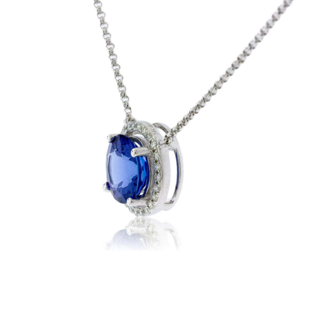 Round Tanzanite with Diamond Halo Pendant with Chain
