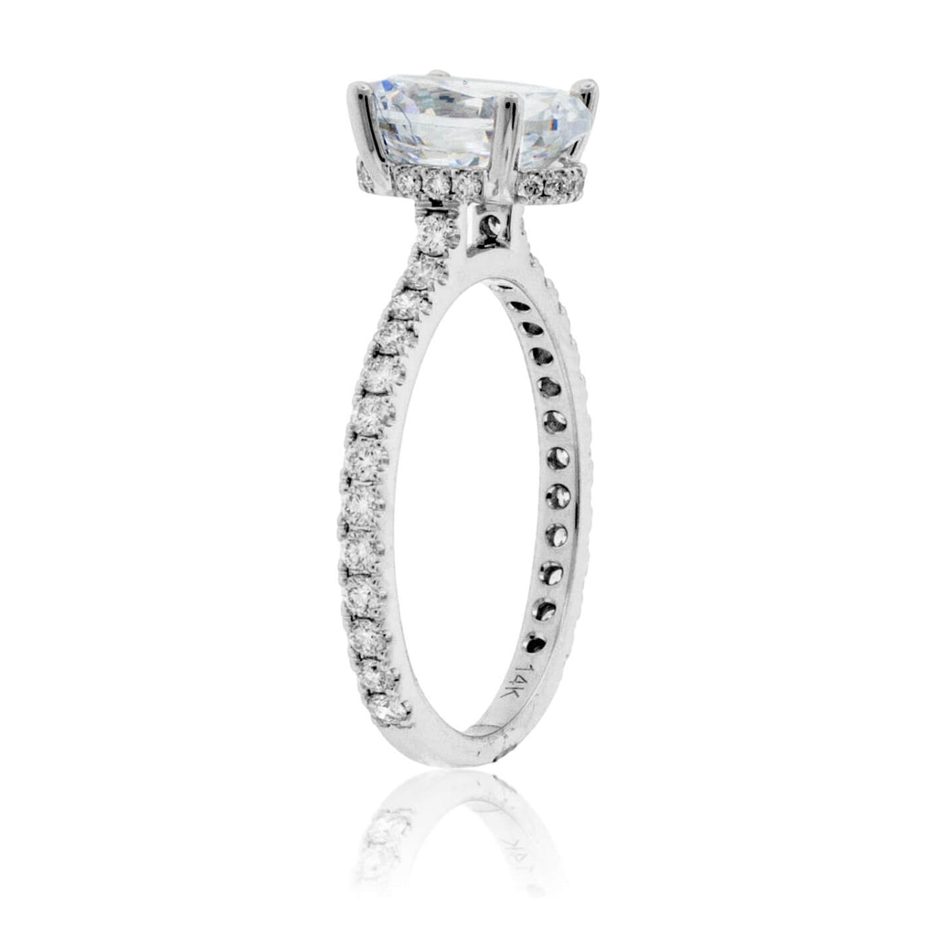 Diamond & Oval CZ Center Stone Engagement Ring with Hidden Halo