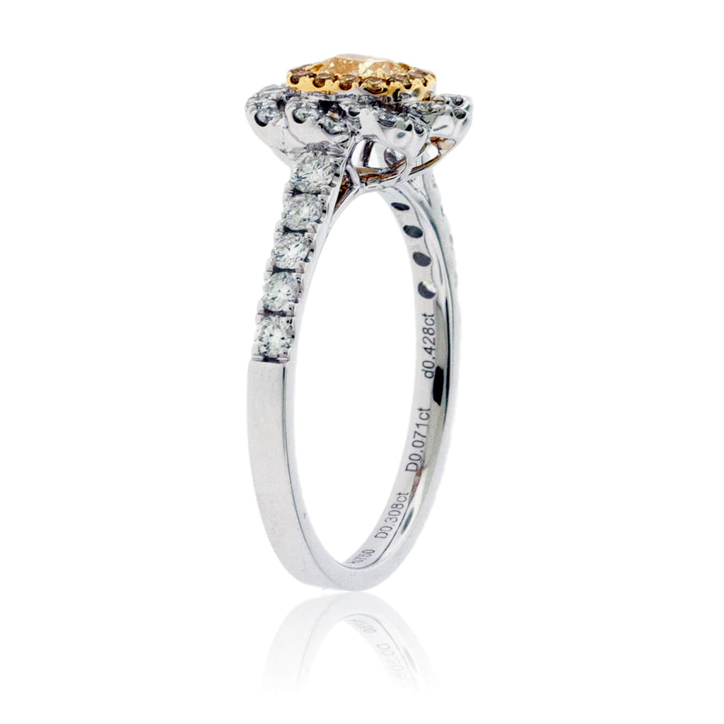 Yellow Diamond Cushion Cut Double Halo Engagement Ring