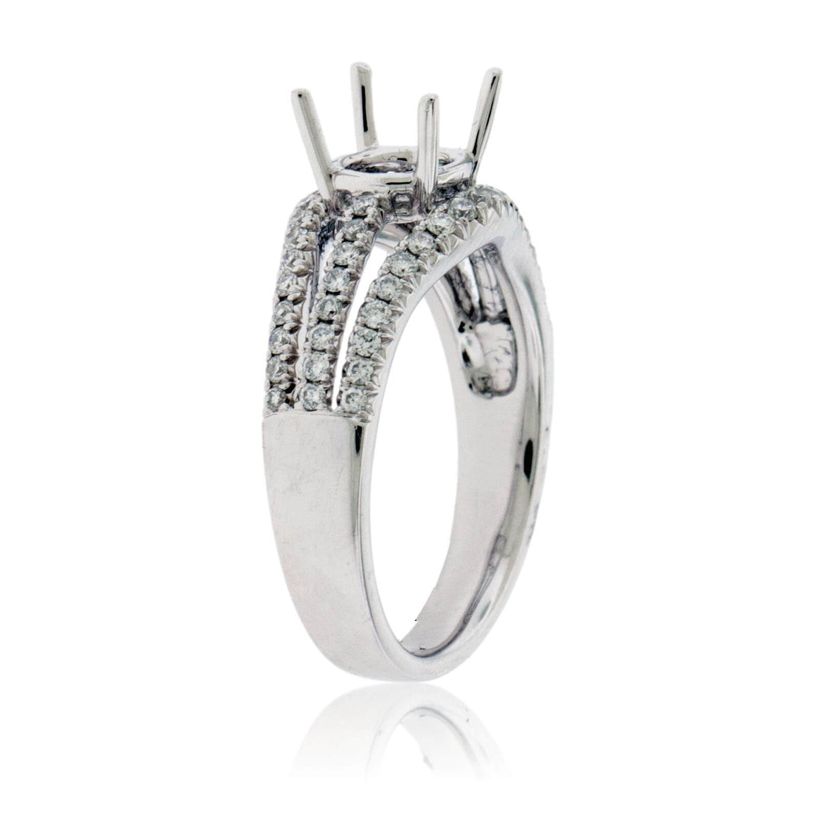 Three Row Semi Mount Diamond Ring