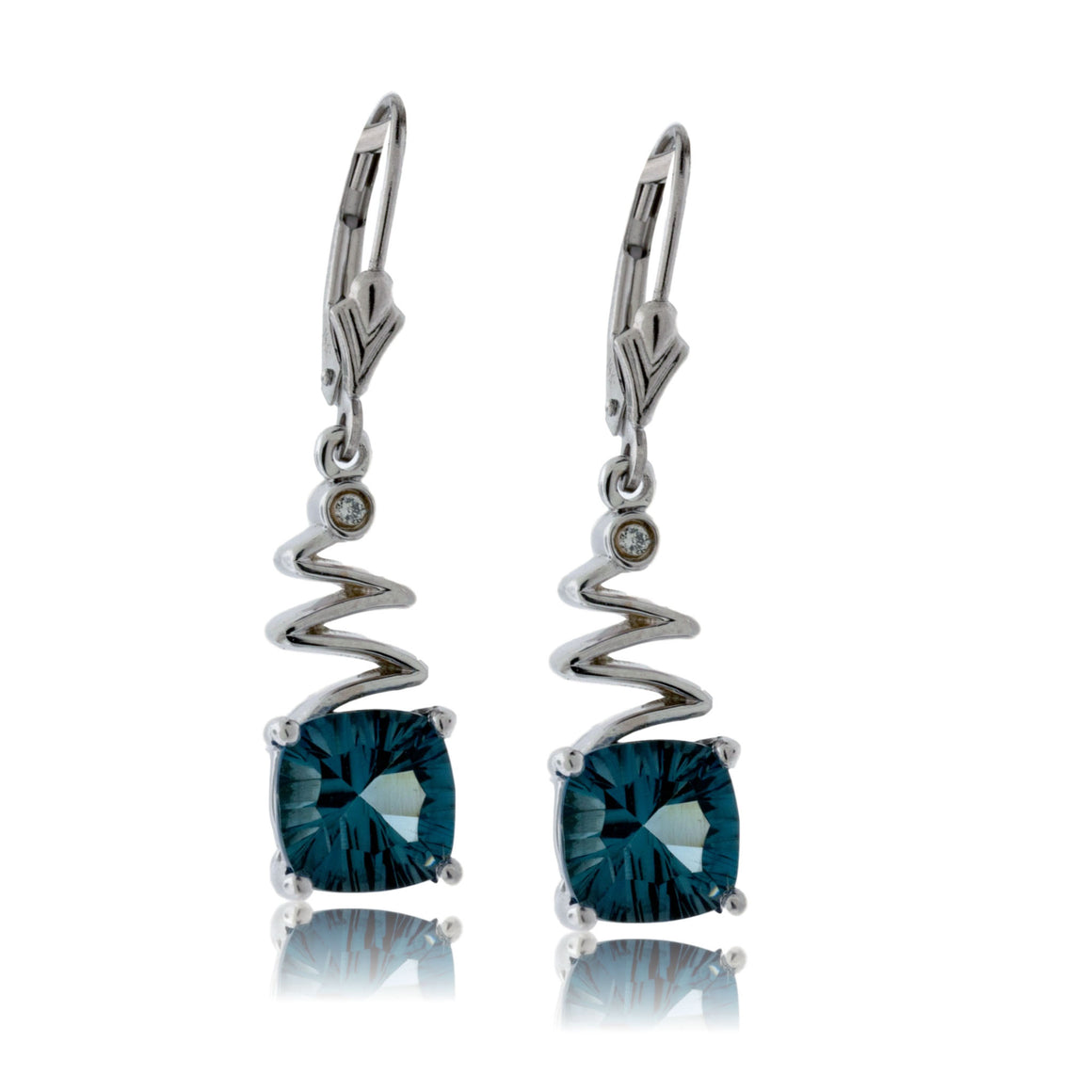 London Blue Topaz and Diamond Dangle Earrings