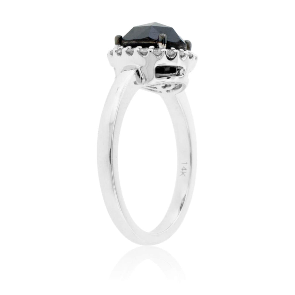 Rose-Cut Black Diamond & Diamond Halo Ring