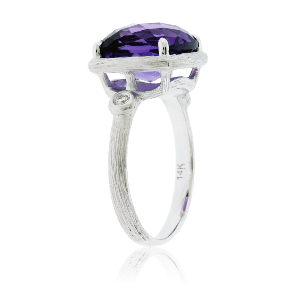 Textured White Gold & Checkerboard Amethyst Ring with Diamond Accents