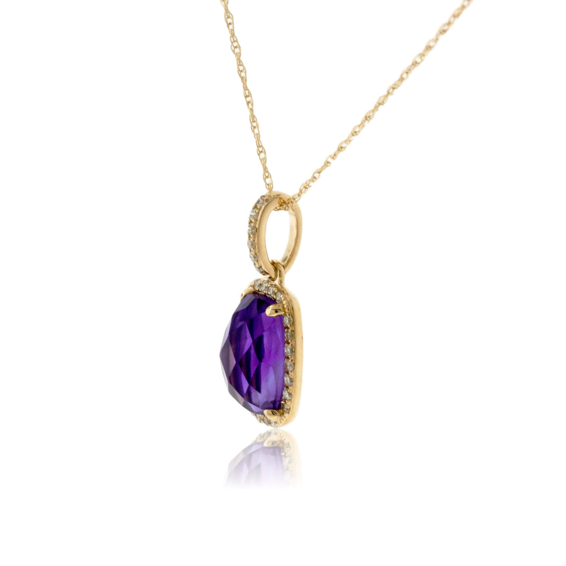Amethyst and Diamond Halo Style Pendant
