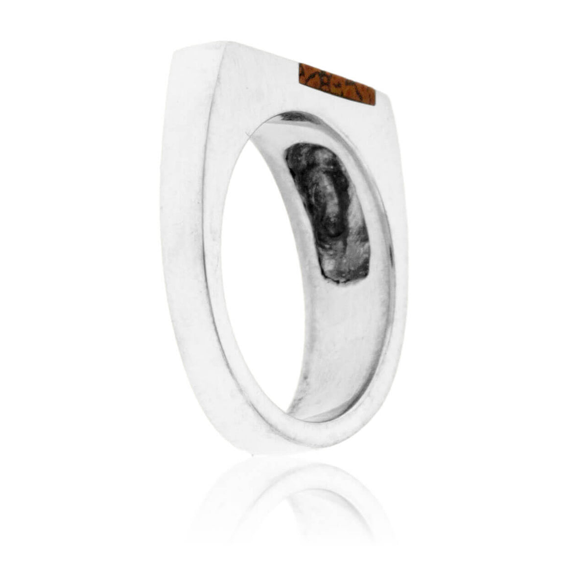 Asymmetric Style Simple Inlay Ring in Sterling Silver