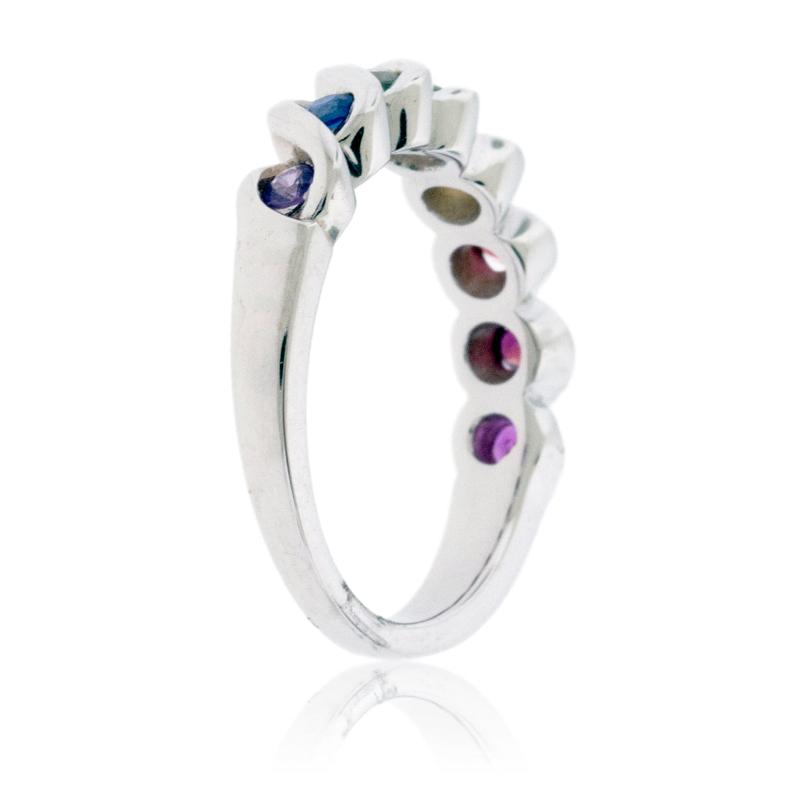 Sterling Silver Rainbow Sapphire Ring